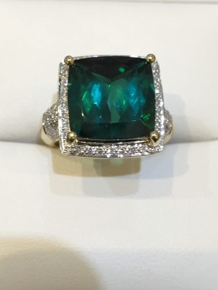 18ct. yellow and white gold. VS1/G.  Spectacular Tourmaline with  Brilliant cut Diamonds. Top view.  £3,500