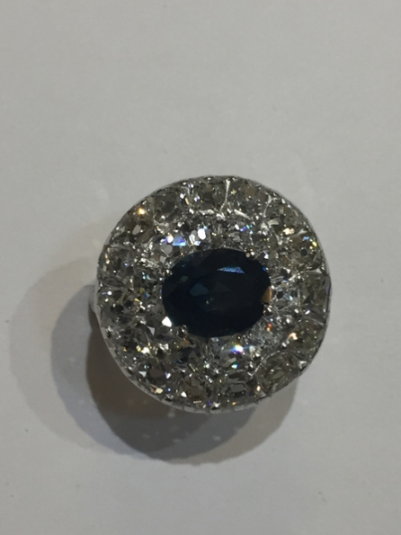 Sapphire & Diamond Ring  18ct white gold.  Old cut diamonds of fine quality. VS1/G  £9,950