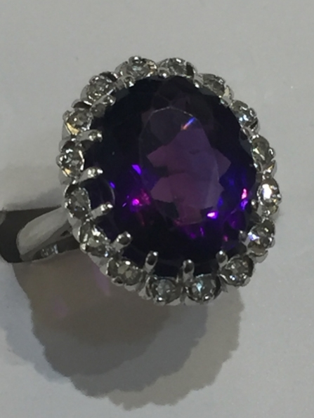 Amethyst & Diamond Ring  18ct white gold.  VS1/G  £2,200
